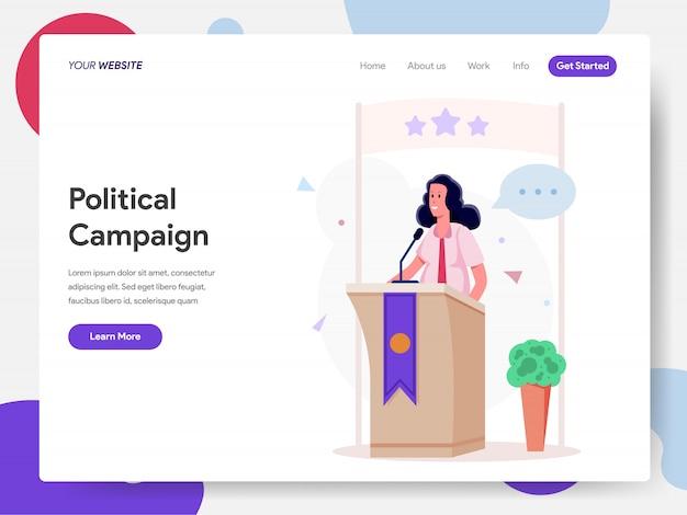 Campaña política femenina en el podio