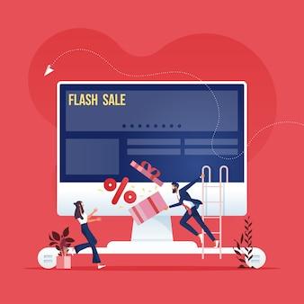 Campaña de publicidad en línea: concepto de marketing en redes sociales