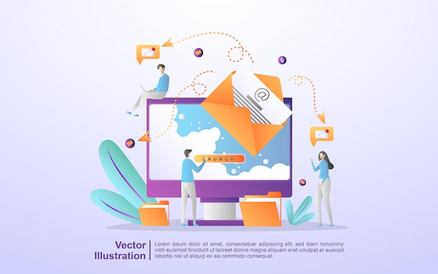 Campaña publicitaria por correo electrónico, marketing electrónico, llegar al público objetivo con correos electrónicos