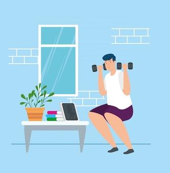 Campaña quedarse en casa con el hombre levantando pesas, diseño de ilustraciones vectoriales