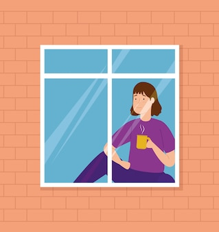Campaña quedarse en casa con una mujer mirando por la ventana