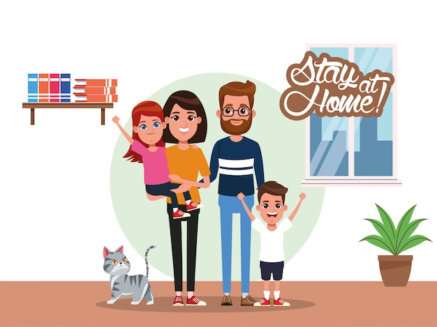 Campaña de quedarse en casa con padres e hijos