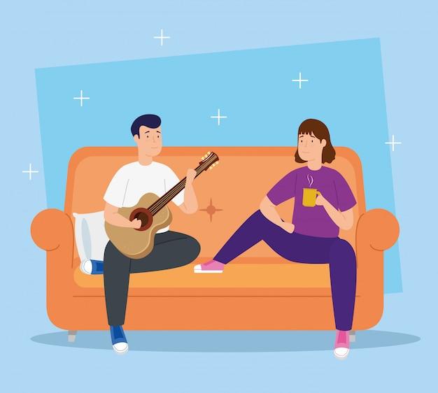 Campaña quedarse en casa con pareja en sala