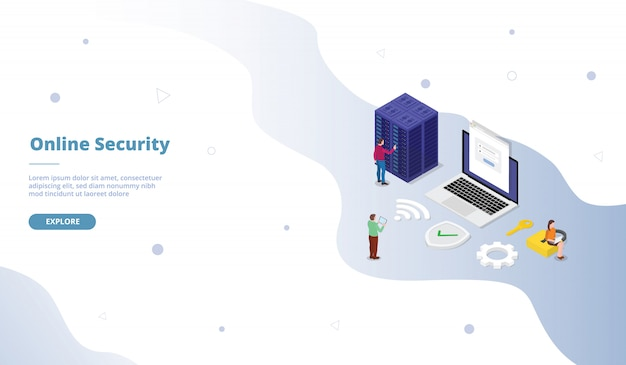 Campaña de seguridad personal de cuenta en línea para página de plantilla de sitio web web, página de inicio de inicio con diseño de estilo plano isométrico