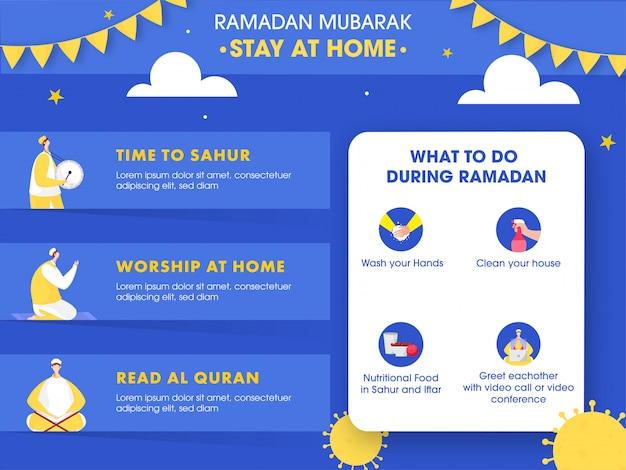 Campaña de sensibilización en las redes sociales con covid-19 prevention y stay home en el festival de ramadán mubarak.