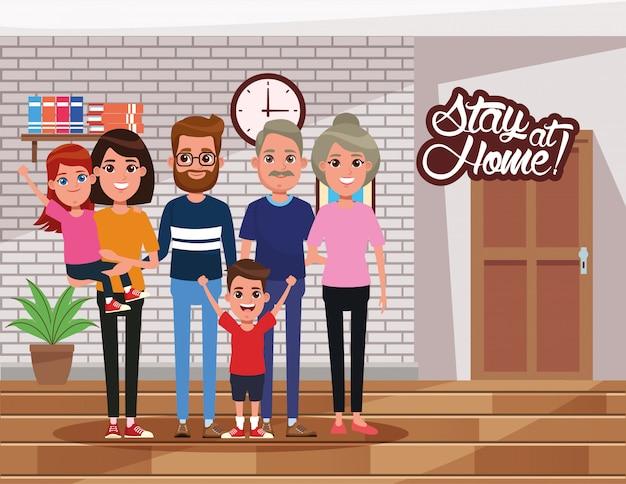 Campaña stay at home con miembros de la familia.