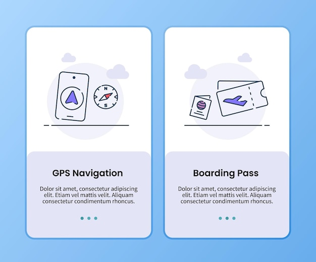 Campaña de tarjeta de embarque de navegación gps para plantilla de embarque