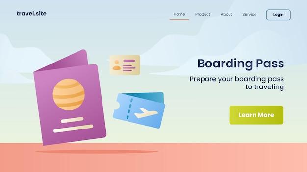 Campaña de tarjeta de embarque para la página de inicio de la página de inicio del sitio web
