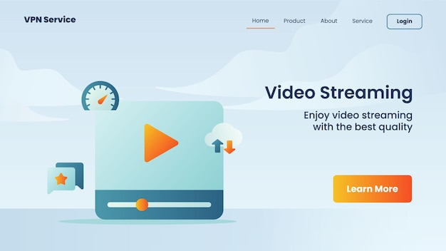Campaña de transmisión de video para la plantilla de banner de página de inicio de la página de inicio del sitio web