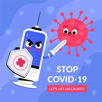 Campaña de vacunación con jeringa ilustrada.