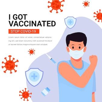 Campaña de vacunación plana con hombre vacunado ilustración