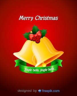 Campanas de feliz navidad con acebo decorativo