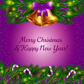Campanas de navidad y bastones de caramelo sobre fondo violeta