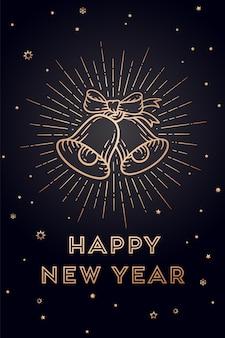 Campanas de navidad. feliz año nuevo. tarjeta de felicitación con texto feliz año nuevo