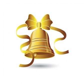 Campanas de navidad con lazo dorado.