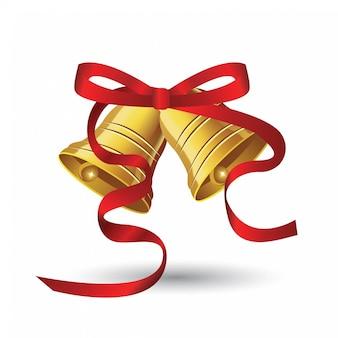 Campanas de navidad con lazo rojo