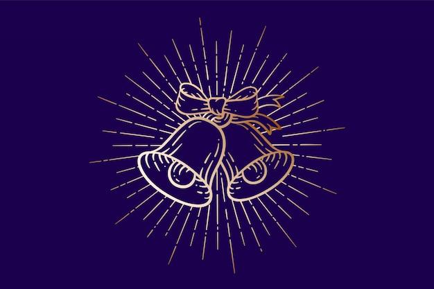 Campanas de navidad. letreros de oro cascabeles con rayos de luz