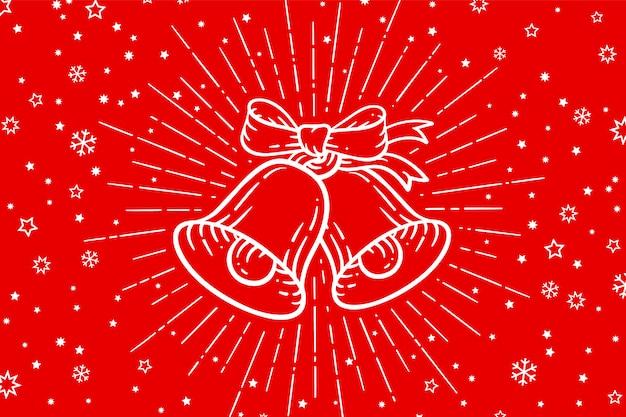 Campanas de navidad signo de oro cascabeles con rayos de luz.