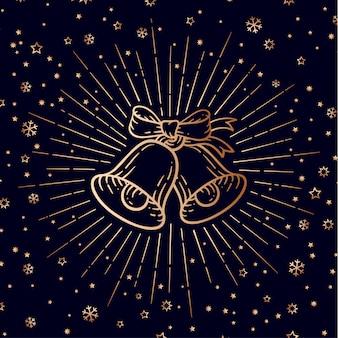 Campanas de navidad. signo de oro cascabeles con rayos de luz.