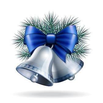 Campanas de plata con cinta azul.