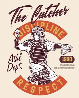 El campeón de béisbol catcher en estilo vintage