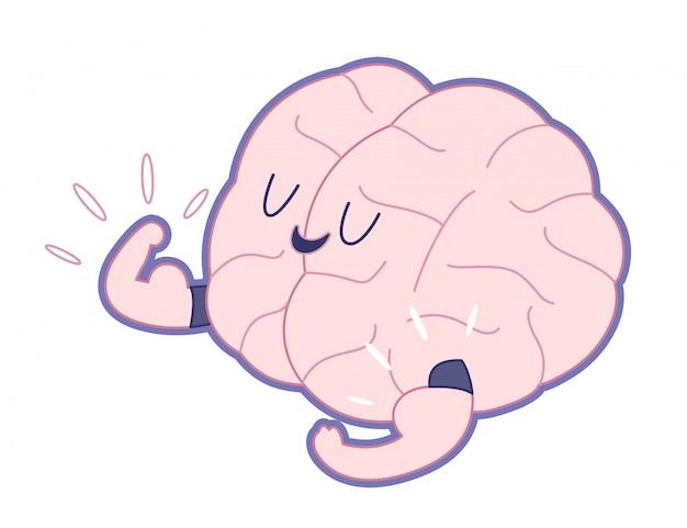 Campeón del cerebro que muestra una ilustración de dibujos animados esbozada de bíceps s