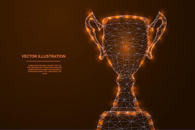 Campeón colorido trofeo copa resumen baja ilustración poligonal - premio a los deportes ganadores.