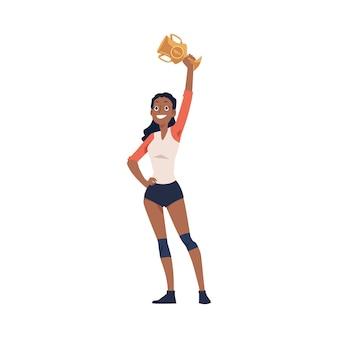 Campeón de la competencia deportiva, un personaje de dibujos animados de mujer levanta el trofeo de la copa de oro, ilustración plana en blanco