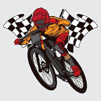 Campeón de descenso en bicicleta de montaña de diseño.