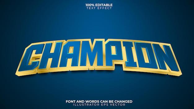 Campeón efecto texto completamente editable azul dorado brillante