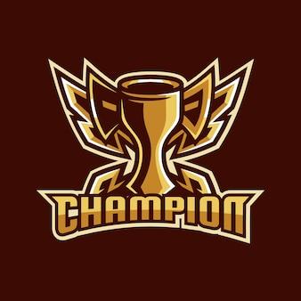 Campeón emblema ganador diseño de logotipo