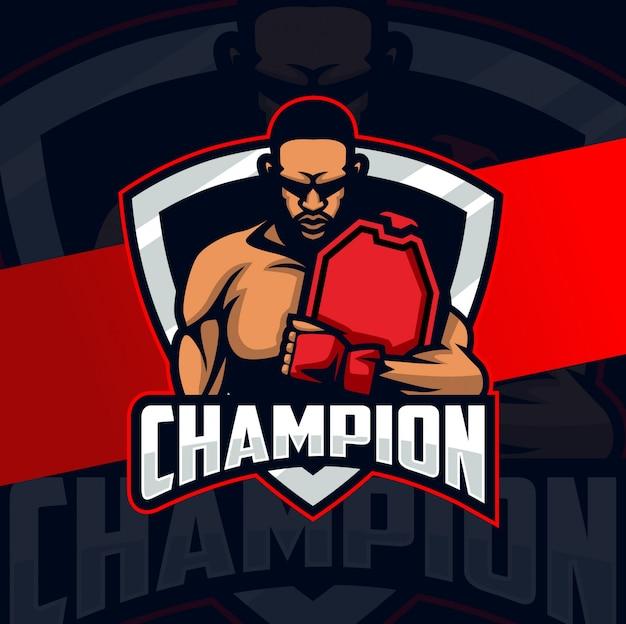 Campeón luchador mascota esport logo diseño