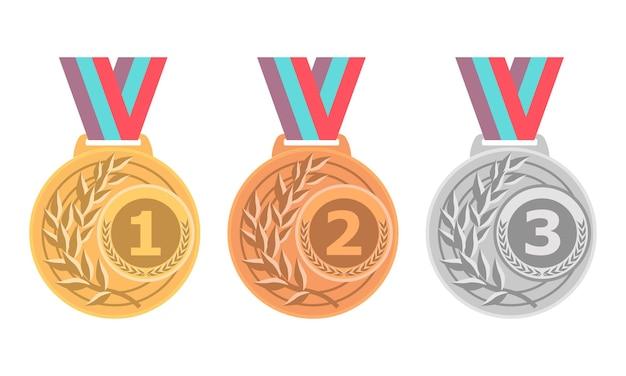 Campeón medalla de oro, plata y bronce conjunto de iconos medallas aisladas sobre fondo blanco.