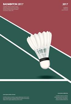 Campeonato de bádminton cartel ilustración vectorial