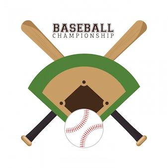 Campeonato de béisbol póster field ball y bates