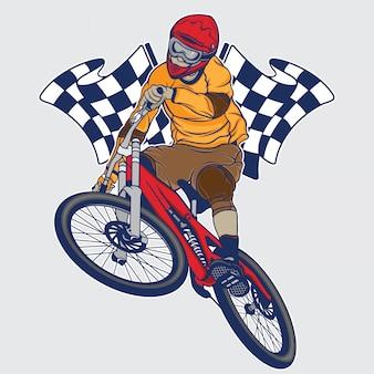 Campeonato de bicicleta de montaña cuesta abajo.