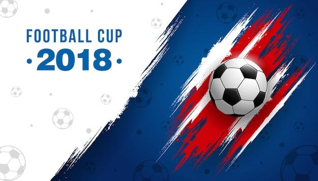 Campeonato de la copa de fútbol con pelota de fútbol de fondo