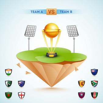 Campeonato mundial de cricket concept.