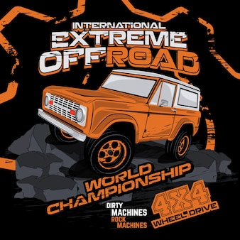 Campeonato offroad extremo, ilustración vectorial de coche