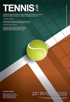 Campeonato de tenis cartel ilustración vectorial