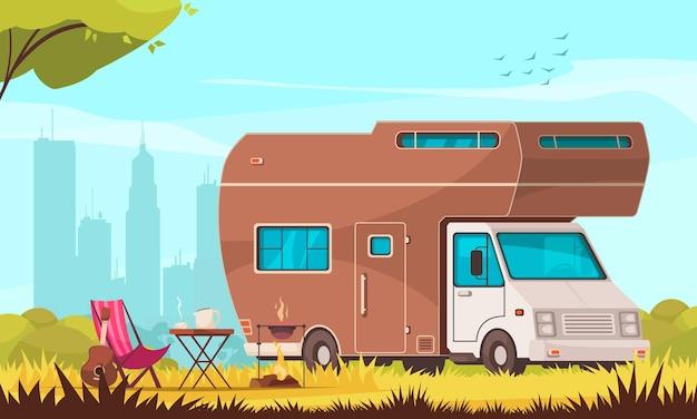 Camper con barbacoa, mesa plegable, tumbona, guitarra en la ciudad, suburbio, remolque, caravana, parque, composición de dibujos animados, ilustración