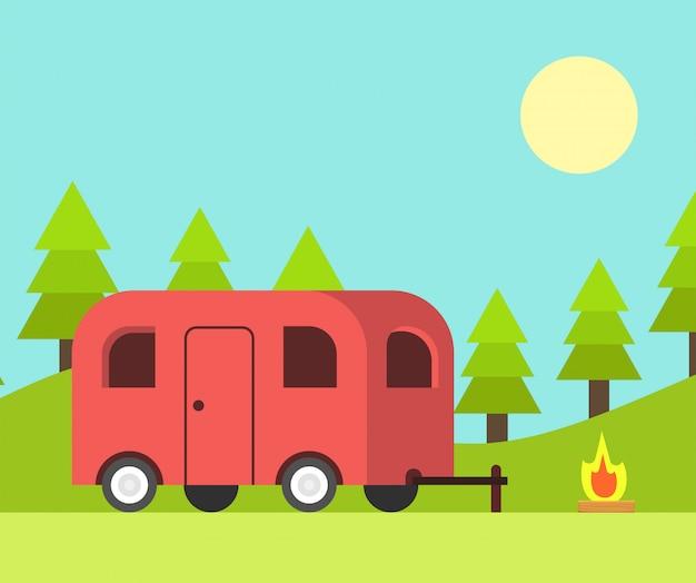 Camper trailer y escena de campamento en el día
