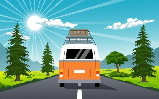 Camper van en ilustración de viaje de verano