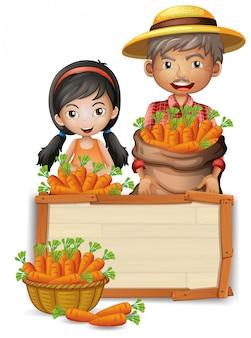 Campesino con bandera de zanahoria de madera.
