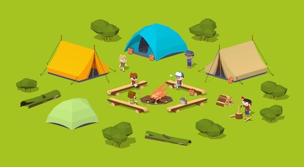 Camping 3d isométrico en el bosque