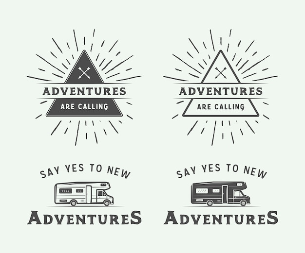 Camping al aire libre e insignias de aventura