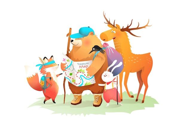 Camping de animales del bosque, senderismo con mapa del tesoro. oso conejo zorro y alces amigos que viajan, ilustración de la historia de los niños. gráficos para eventos infantiles, libros o grabados.