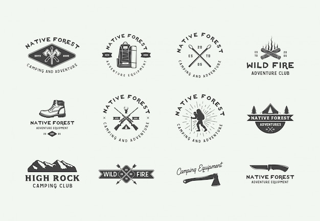 Camping aventura al aire libre logos