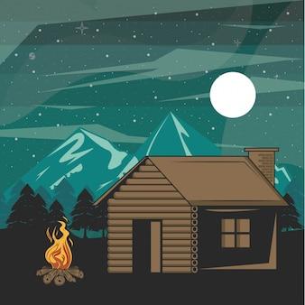 Camping aventura en el bosque en el paisaje nocturno