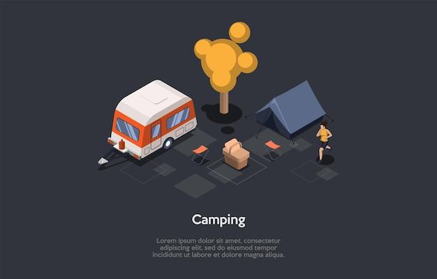 Camping en bosque concepto de diseño. composición isométrica, estilo de dibujos animados 3d. ilustración de vector con carácter. mujer para correr. bosque, canasta de picnic, carpa, camioneta. solo ideas de recreación ecológica activa